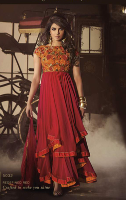 Orange Bhagalpuri Dress material