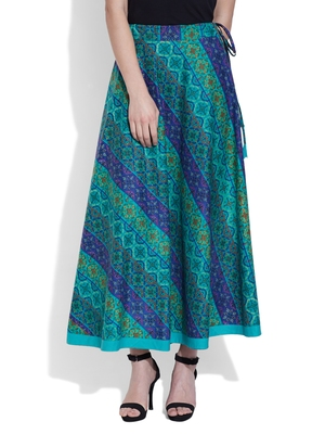 Teal Cotton printed skirts