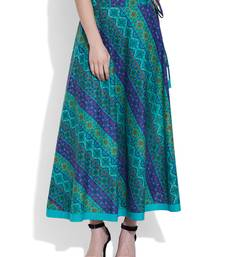 Buy Teal Cotton printed skirts cotton-skirt online