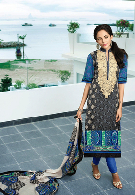 Cream - Mehendi Embroidered georgette semi-stitched salwar with dupatta