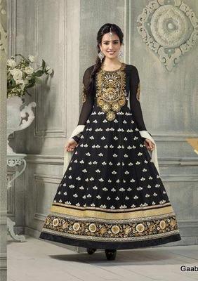 Black Georgette Semi Stitch Dress