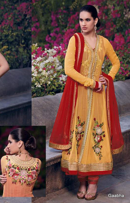 Yellow - Red Embroidered georgette semi-stitched salwar with dupatta