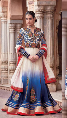 Blue - White Embroidered georgette semi-stitched salwar with dupatta