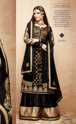 Black Pure Banarasi Jacquard Semi Stitch Dress