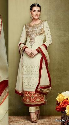 Cream Pure Georgette Semi Stitch Dress