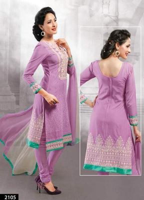 Purple Georgette Semi Stitch Dress