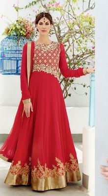 Red Georgette Semi Stitch Dress