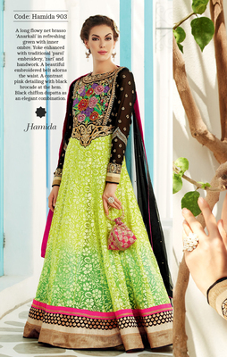 Green Net Brasso Semi Stitch Dress