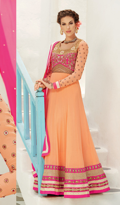 Orange Georgette Semi Stitch Dress
