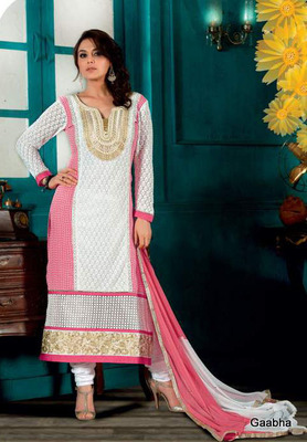 White Georgette Semi Stitch Dress Material