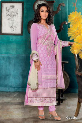 pink Georgette Semi Stitch Dress Material