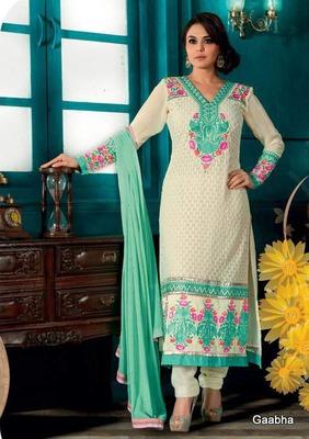 White Georgette Semi Stitch Dress Material