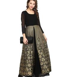 Black printed georgette stitched kurta