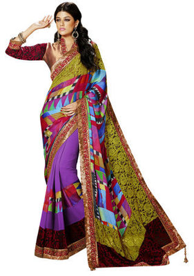 Multi Border Worked Net,Jacquard, Satin,Chiffon Saree With Blouse