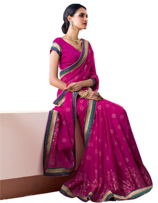 Magenta Border Worked Faux Georgette Saree With Blouse