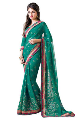 Green Border Worked Faux Georgette Saree With Blouse
