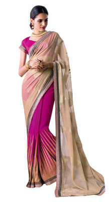 Magenta Border Worked Faux Georgette,Chiffon Saree With Blouse