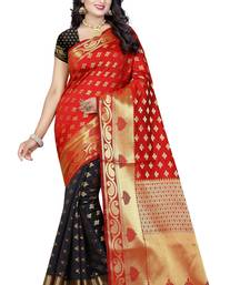 Buy Black printed banarasi silk saree with blouse banarasi-saree online