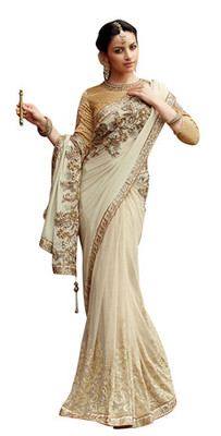 Cream Embroidered Crape,Net Saree With Blouse