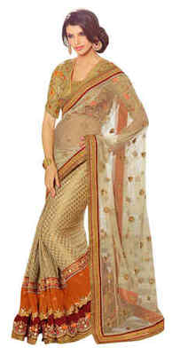 Golden Embroidered Net,Brocade,Velvet Saree With Blouse