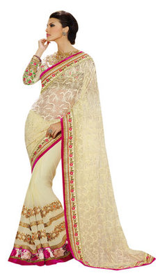 Cream Embroidered Net,Pure Georgette Saree With Blouse