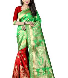 Buy Green poly cotton saree with blouse hand-woven-saree online