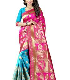 Buy Pink poly cotton saree with blouse hand-woven-saree online