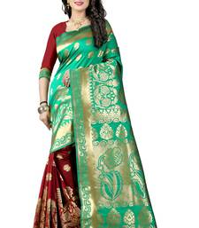 Buy Light green poly cotton saree with blouse hand-woven-saree online