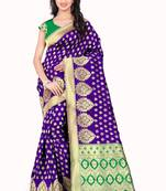 Buy Purple poly cotton saree with blouse