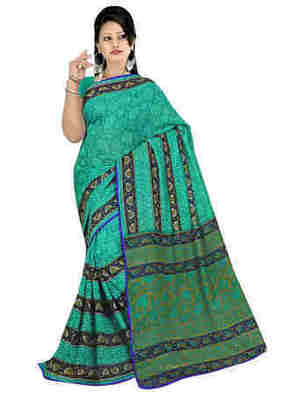 Green Printed Faux Georgette Saree With Blouse