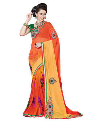 Orange Printed Chiffon Saree With Blouse