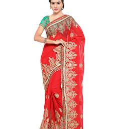 Buy Red embroidered georgette saree with blouse wedding-season-sale online