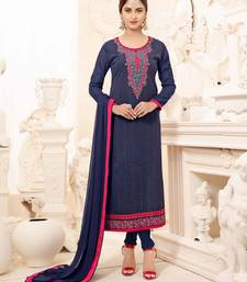 Buy Navy blue embroidered georgette salwar with dupatta straight-suit online
