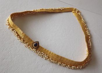 Golden Waistbelt or  Kamarbandh with Pearl Drops