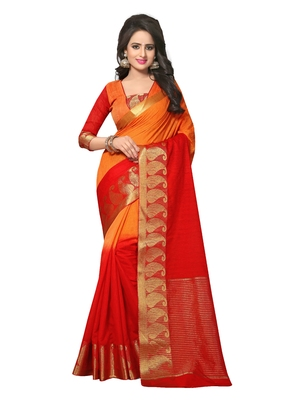 Red woven jute cotton saree with blouse