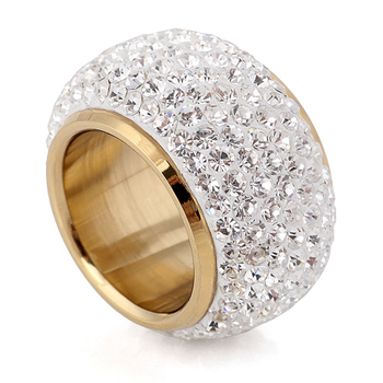 Golden Luxurious Finger Ring American Diamonds