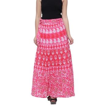 Pink Cotton Printed Wrap Skirt