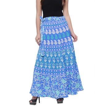 Blue Cotton Printed Wrap Skirt