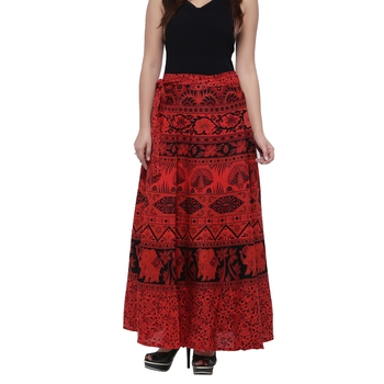 Red Cotton Printed Wrap Skirt