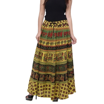 Green Cotton Long Printed  Skirt