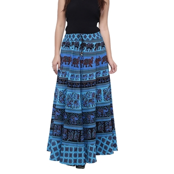 Blue Cotton Long Printed  Skirt