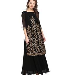 Buy Black printed georgette stitched kurtas-and-kurtis georgette-kurtis online