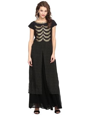 Black printed crepe stitched kurtas-and-kurtis