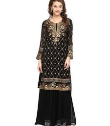 Buy Black printed georgette stitched kurtas-and-kurtis ethnic-kurtis online