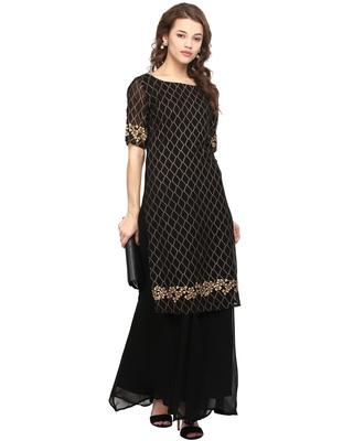 Black printed georgette stitched kurtas-and-kurtis