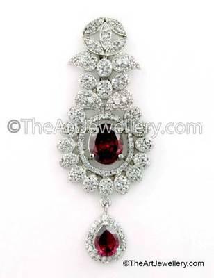 Red CZ AD American Diamond Drop Earrings Jewellery for Women - Orniza