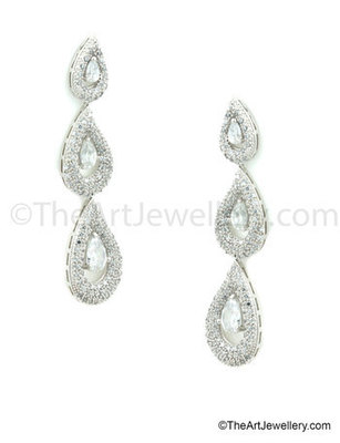 Three Step Clear CZ AD American Diamond Drop Earrings Jewellery for Women - Orniza