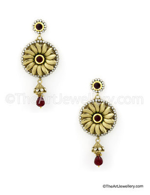 Maroon Red Traditional Rajwadi Drop Earrings Jewellery for Women - Orniza