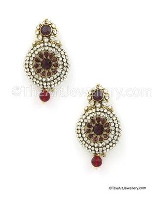 Maroon Red Traditional Rajwadi Dangle and Drop Earrings Jewellery for Women - Orniza
