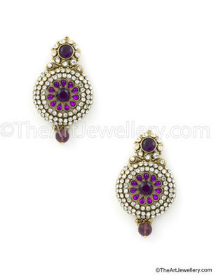 Purple Traditional Rajwadi Dangle and Drop Earrings Jewellery for Women - Orniza